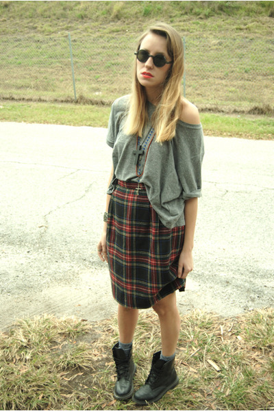plaid thrifted skirt