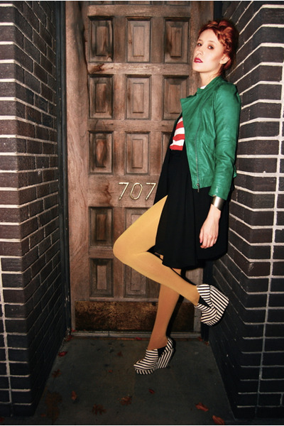 acacia pony Senso wedges - green leather Zara jacket - marigold Target tights