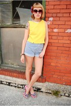 Jeffrey Campbell heels - vintage yellow blouse