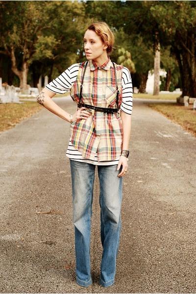 wide leg H&M jeans - petite harness Zana Bayne belt