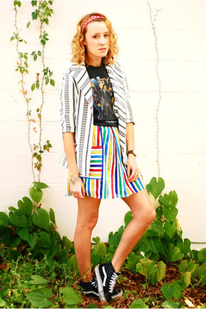 rainbow skirt - vintage blazer - nsync concert t-shirt