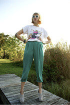 teal pants - t-shirt - acacia pony wedges