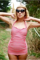 red gingham Esther Williams swimwear