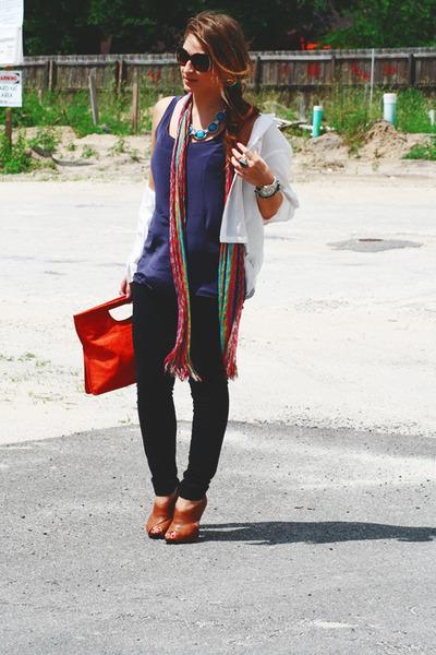 tawny Sergio Zelcer shoes - magenta Missoni scarf - carrot orange Nine West purs