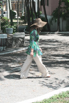 mesh hat - Chloe sunglasses - elan pants - Le affaire blouse - Michael Kors sand