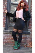 black H&M jacket - green Betsey Johnson boots - black H&M skirt - pink H&M top