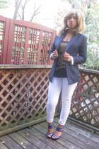 navy Forever 21 blazer - white Forever 21 jeans - black H&M shirt