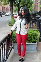 ruby red unknown pants - ivory H&M blouse - black Aldo pumps