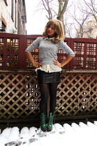 dark green Betsey Johnson boots - heather gray Primark sweater