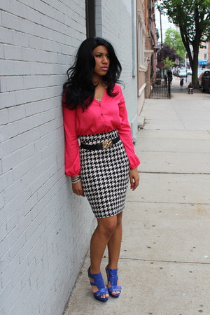 black H&M skirt - hot pink unknown shirt - blue Aldo sandals
