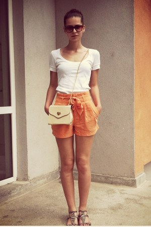 light orange H&amp;M shorts - beige bag - white top - white sandals