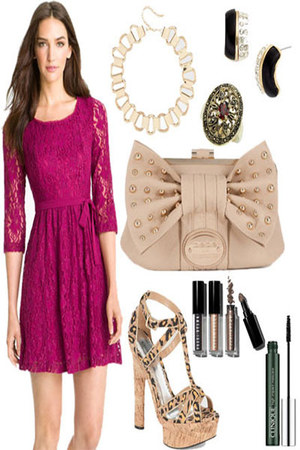 dress - bag - sandals - necklace - earrings