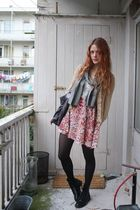 gold H&M cardigan - pink self-made dress - gray No Wonder scarf - gray Stella Mc