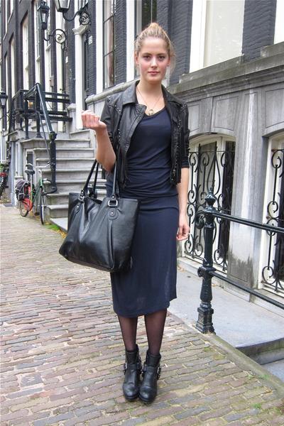 black fringe stud Miss Selfridge jacket - black buckle Dolce Vita boots