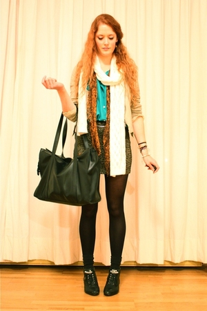 vintage blouse - H&M scarf - vintage skirt - vintage purse - vintage boots
