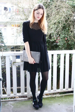 black lace American Apparel dress - silver snakeskin Zara bag