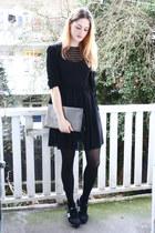 black lace American Apparel dress - silver snakeskin Zara bag