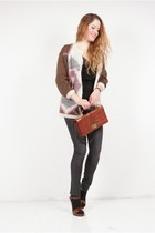 brown vintage cardigan - gray pieces leggings - brown vintage purse - brown Prad
