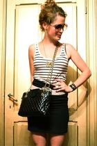 H&M vest - vintage belt - vintage purse - H&M skirt - vintage glasses