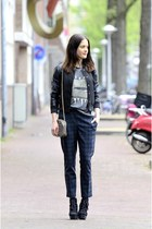 black asos boots - black new look jacket - teal warehouse pants