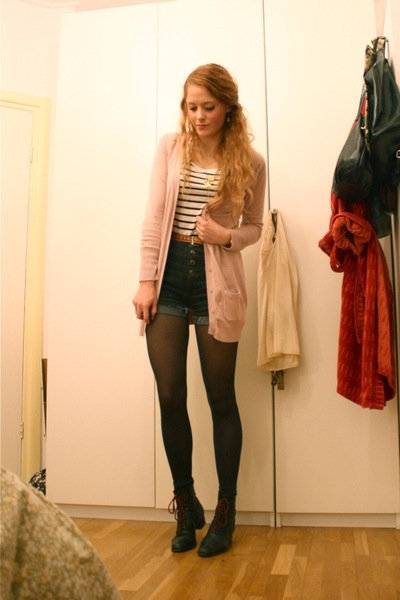 pink Zara cardigan - black Only shorts - white H&M top - black vintage boots
