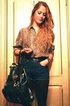 beige vintage blouse - brown vintage belt - black vintage purse - blue vintage s
