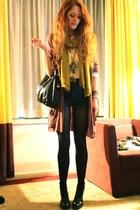 purple cardigan elle sweater - black wedge heeled Wedins boots