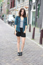 Teal-plaid-udobuy-shirt-black-rebecca-minkoff-bag-black-new-look-shorts