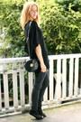 Dark-gray-topshop-jeans-black-knitted-lurex-zara-sweater-black-round-vintage