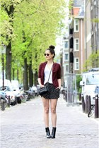 black zipper Rebecca Minkoff bag - brick red snake print new look blazer