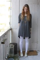gray H&M dress - white welovecolors tights - beige second-hand shoes