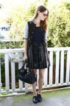 Sisley skirt - studded new look shoes - leather zipper bag - ray-ban sunglasses
