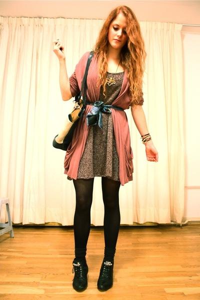 purple elle cardigan - purple made by me dress - black vintage boots