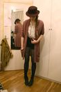 Black-h-m-blazer-gray-stella-mccartney-purse-brown-elle-cardigan-white-zar