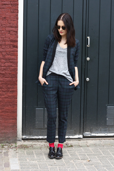 navy checked warehouse blazer - red Topshop socks - navy checked warehouse pants