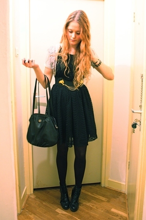 black H&M dress - black vintage purse - gray Only top - black Wedins boots