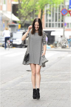 black platform asos boots - black striped Tidestore dress