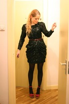 black H&M dress - black H&M tights - red vintage belt - red River Island shoes