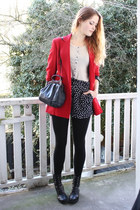 black lace-up vintage boots - red heart buttoned Moschino blazer - navy vintage