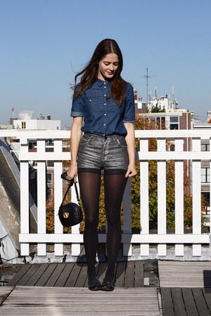navy denim Monki blouse - black round vintage bag