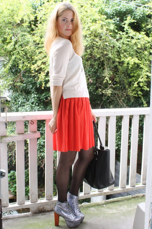 red pleated H&M skirt - silver glitter lita Jeffrey Campbell boots