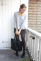 black polka dot Motel shorts - black brogues bagatt shoes