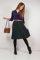 green vintage dress - brown vintage purse - black H&M boots