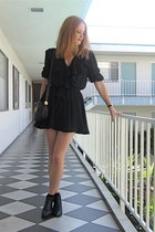 black ankle vintage boots - black sheer ruffle vintage dress - black round vinta