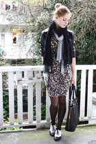 beige leopard H&M dress - white brogues H&M shoes