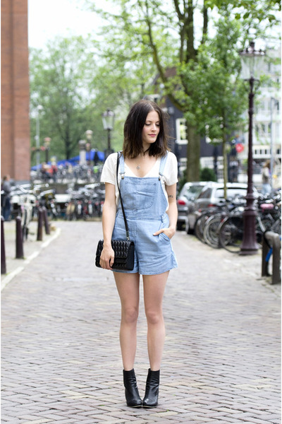 sky blue denim OMGFashion romper - black Ecugo boots