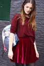 Ruby-red-velvet-romwecom-skirt-black-ankle-vagabond-boots