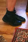 Beige-missguided-dress-black-vintage-boots-blue-nomad-necklace