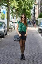 turquoise blue leopard romwe blouse - black ankle vagabond boots