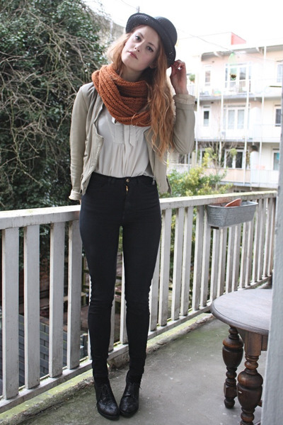 black zipper American Apparel jeans - beige zipper Zara jacket - burnt orange ci